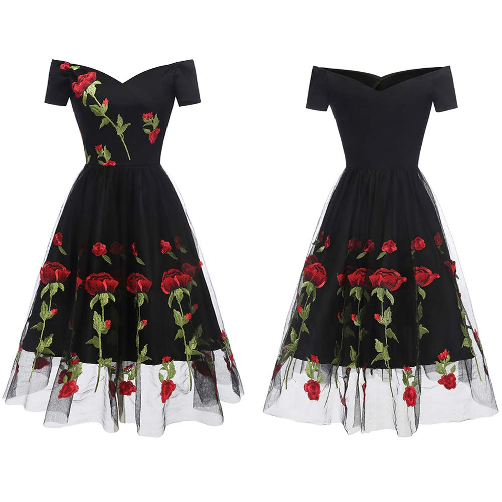 Aofur Women's Vintage Style Rose Embroidered 1950s Rockabilly Evening Party Lace Swing Tea Dress A Line Dresses (XX-Large, Black_Red_Rose) by Aofur (Image #2)