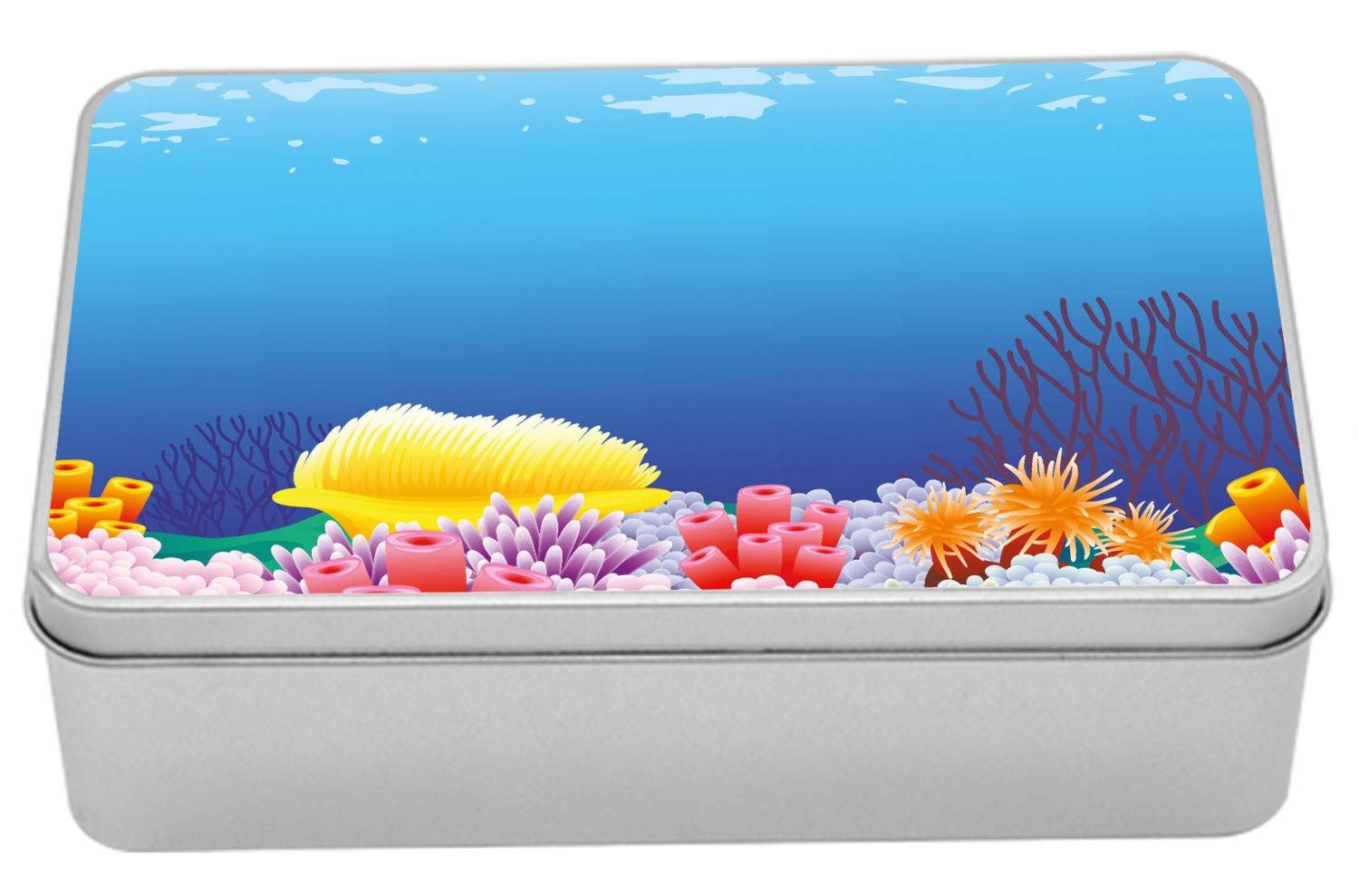 Lunarable Aquarium Tin Box, Underwater Plants Theme Botanical Composition with Variety of Corals Colorful, Portable Rectangle Metal Organizer Storage Box with Lid, 7.2'' X 4.7'' X 2.2'', Multicolor