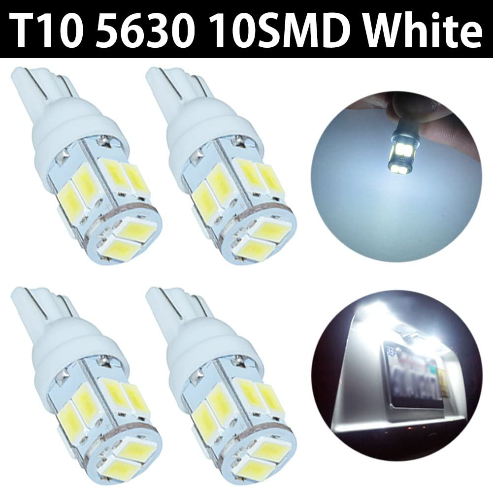 10PCS Car White LED Light T10 10SMD Wedge W5W 2825 158 192 168 194 LED Bulbs A
