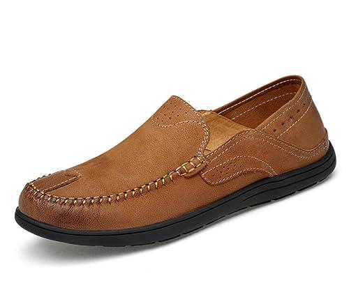 Zapatos de Hombre de Cuero Mocasines de Verano y Slip-Ons Negro Marrón Gris para