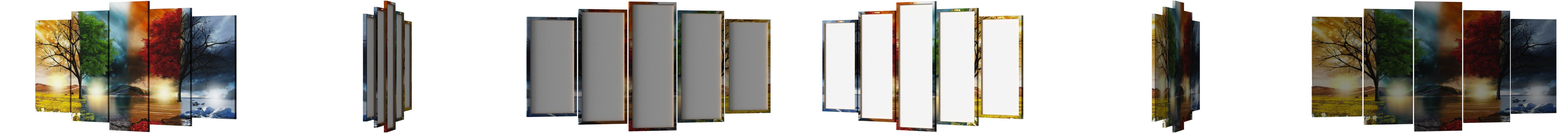 Amazon Com Dekoarte Table Modern 5 Pieces With Design Nature Four Seasons Fabric Multicolour 200 X 3 X 100 Cm Paintings