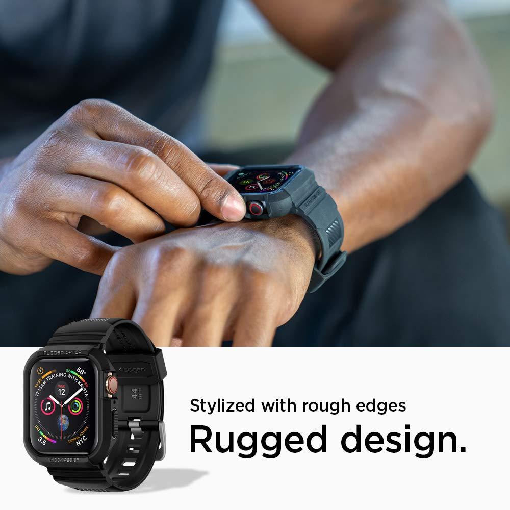 a4ec3ea10a875 ... Apple Watch バンド 一体型 ケース Series 4 44mm 対応 落下 衝撃 吸収 ラギッド・アーマー プロ  062CS25324 (ブラック)