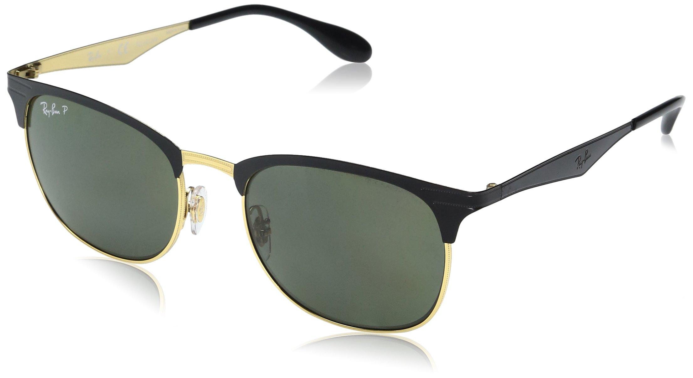 Ray-Ban Metal Unisex Sunglasses - Top Shiny Black on Gold Frame Dark Green Polar Lenses 53mm Polarized