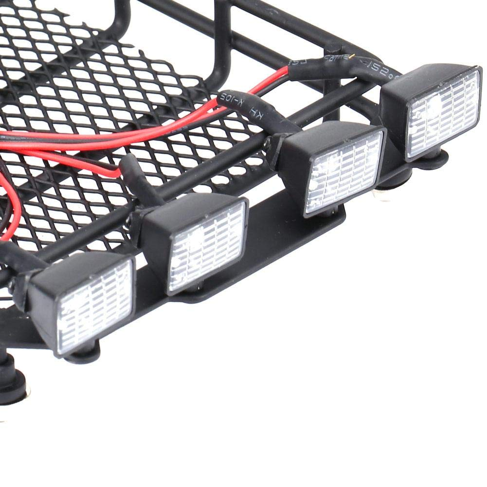 Tama?o Mediano Roof Rack Luggage Carrier con 4 Luces LED Redondas para SCX10 1//10 RC Crawler Car Axial Dilwe RC Portaequipajes de Coche 2 Blanco 2 Rojo