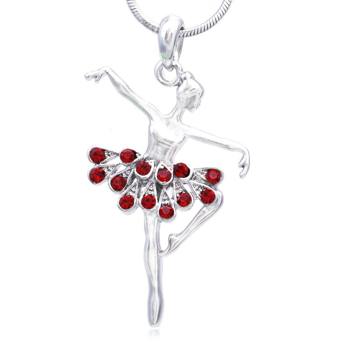 SoulBreezeCollection Dancing Ballerina Dancer Ballet Dance Pendant Necklace Charm n835aqua