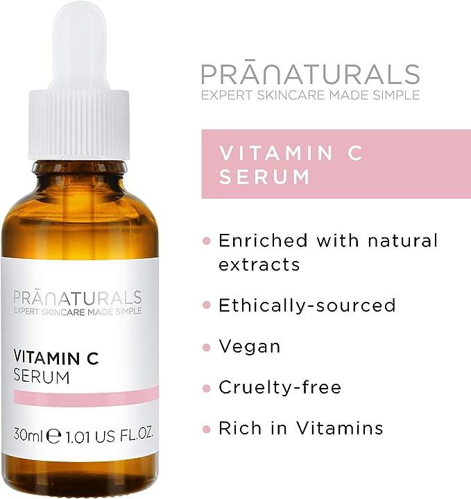 PraNaturals Sérum Facial de Vitamina C 30ml - Borra las Líneas Finas y las Arrugas, Enriquecida con Aceites Naturales y Vitaminas