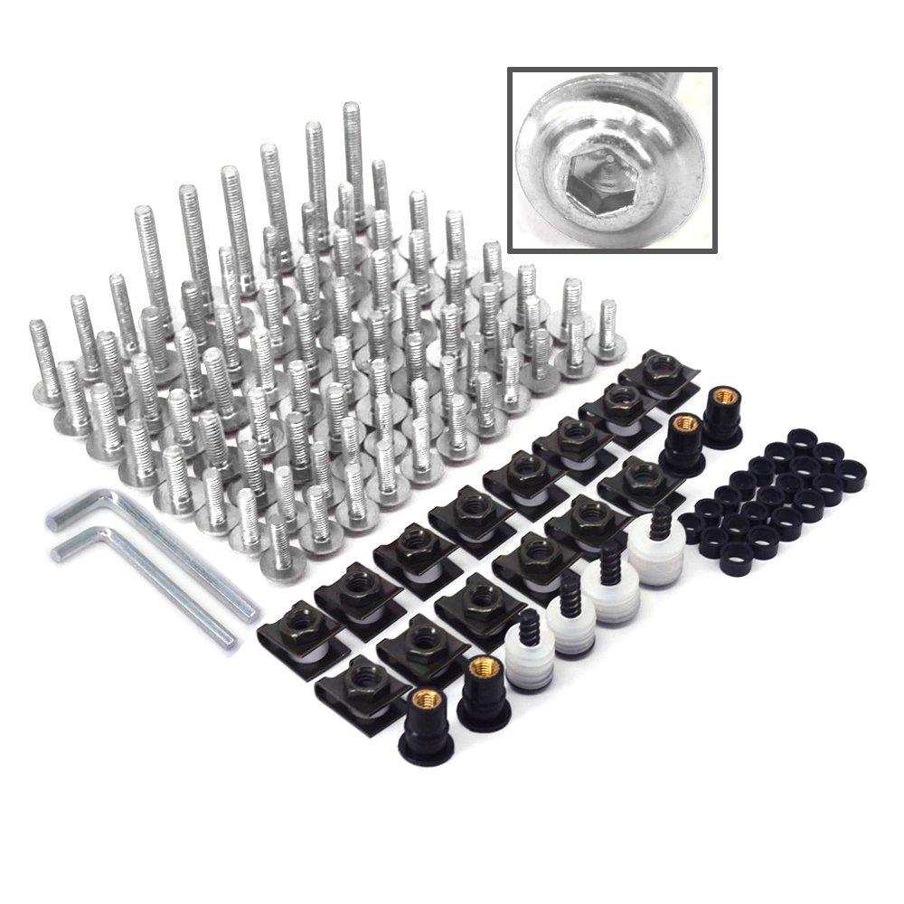 Kit completo di bulloni dadi e clip di fissaggio universali per carrozzeria per il parabrezza delle moto in alluminio billet lavorato a macchina a controllo numerico viti