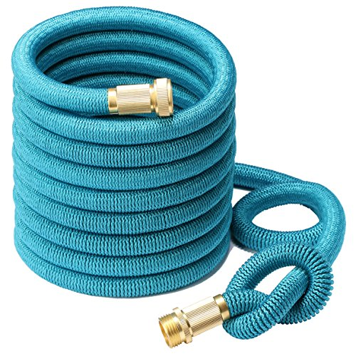 Greenbest 2016 New 50 Expanding Ultimate Expandable Garden Hose Solid Brass Connector Fittings Blue