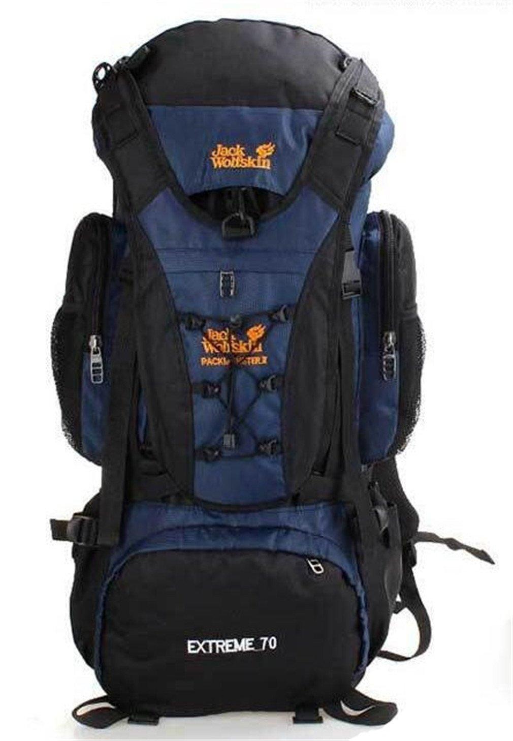 nuo-zアウトドアバックパック70lハイキング、キャンプワイルド旅行バッグ B07CYRSBTQ ブルー