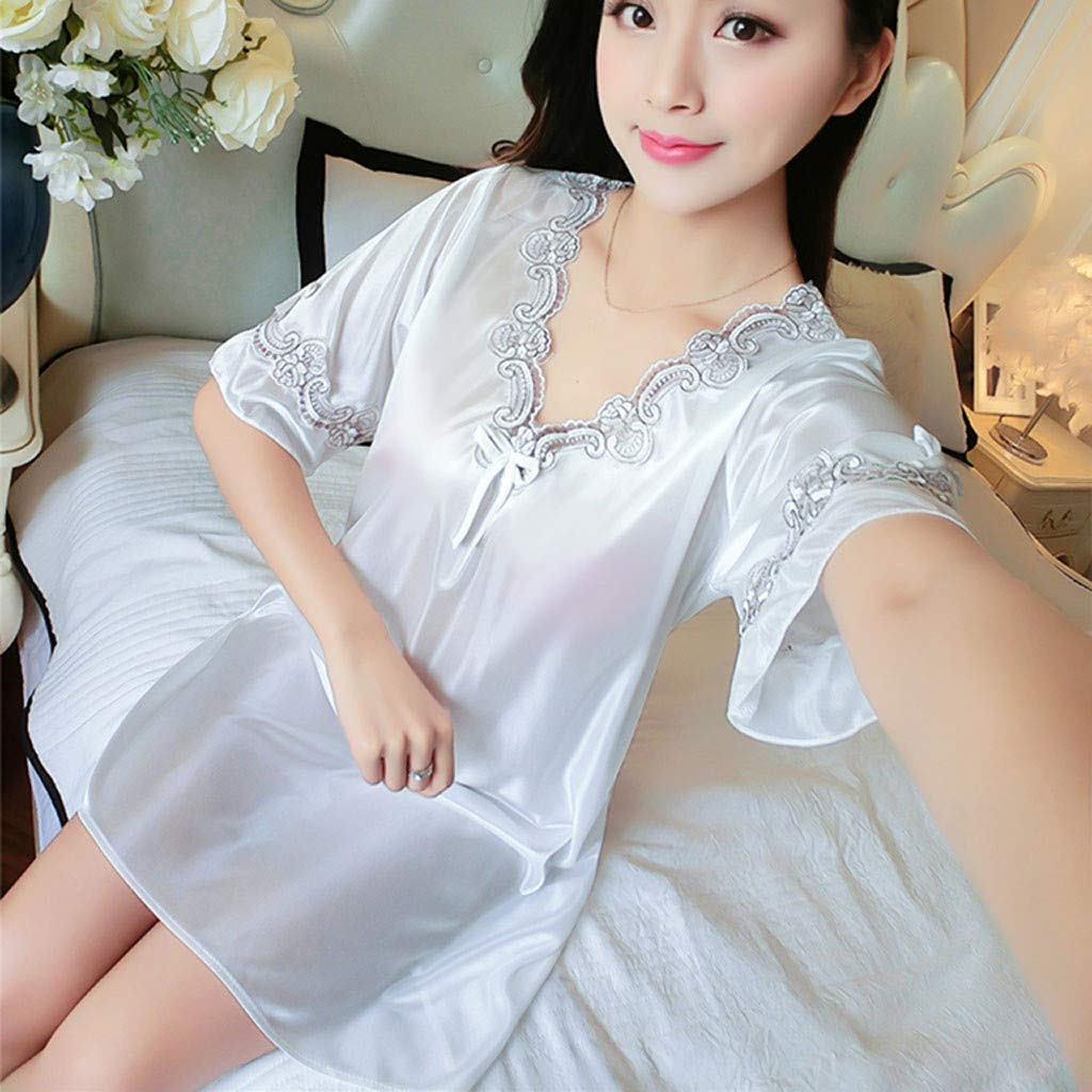Pervobs Women's Pure Color Short Satin Short Sleeve V-Neck Nightdress Sexy Loose Soft Silk Satin Pajamas Dress Lingerie(Free Size, White) by Pervobs Lingerie & Sleepwear (Image #5)