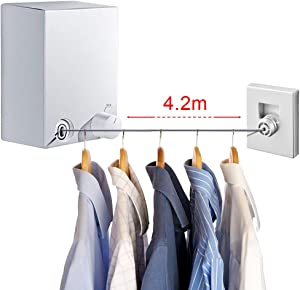 LIVEHITOP Retractable Clothes Line, Stainless Steel Clothesline 13.8ft Wall Mounted Drying Lines Washing Rope for Laundry Indoor Outdoor