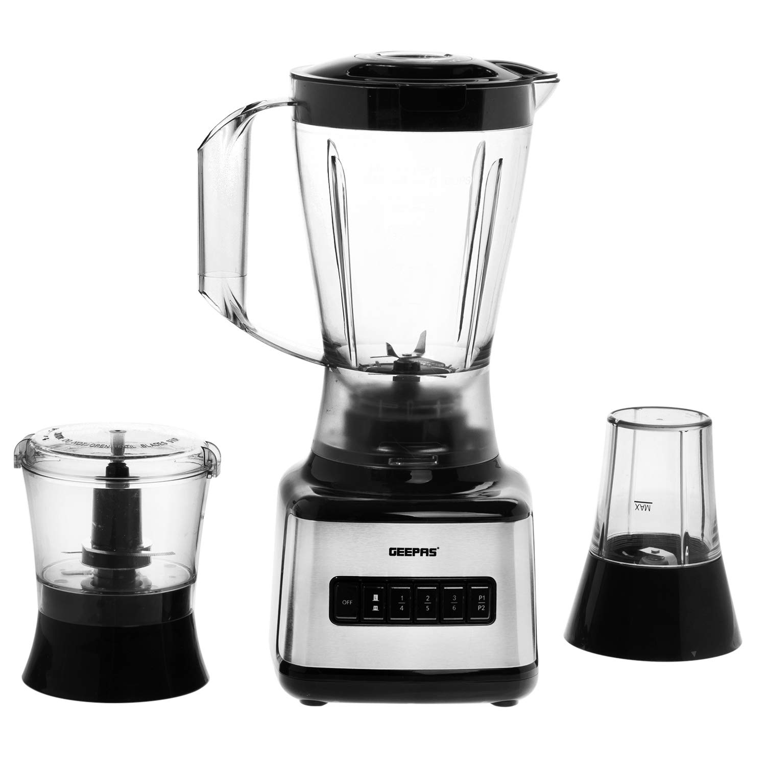 Geepas 500W 3 in 1 Stainless Steel Blender with 1.5L Plastic jar & Stainless Steel Blades Plastic jug with 8 Speed & Anti-Slip feet Design – 2 Year Warranty