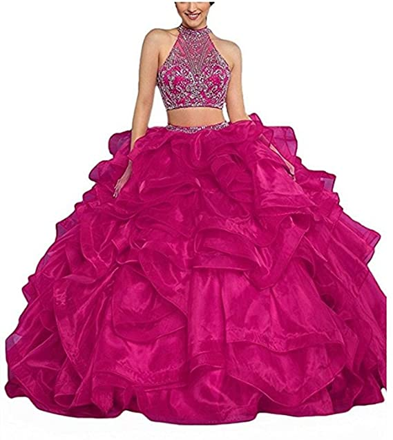 c341cba6590 HSDJ Women s 2 Pieces Ball Gowns Vestidos 15 Sweet 16 Quinceanera Dresses  with Beading  Amazon.ca  Clothing   Accessories