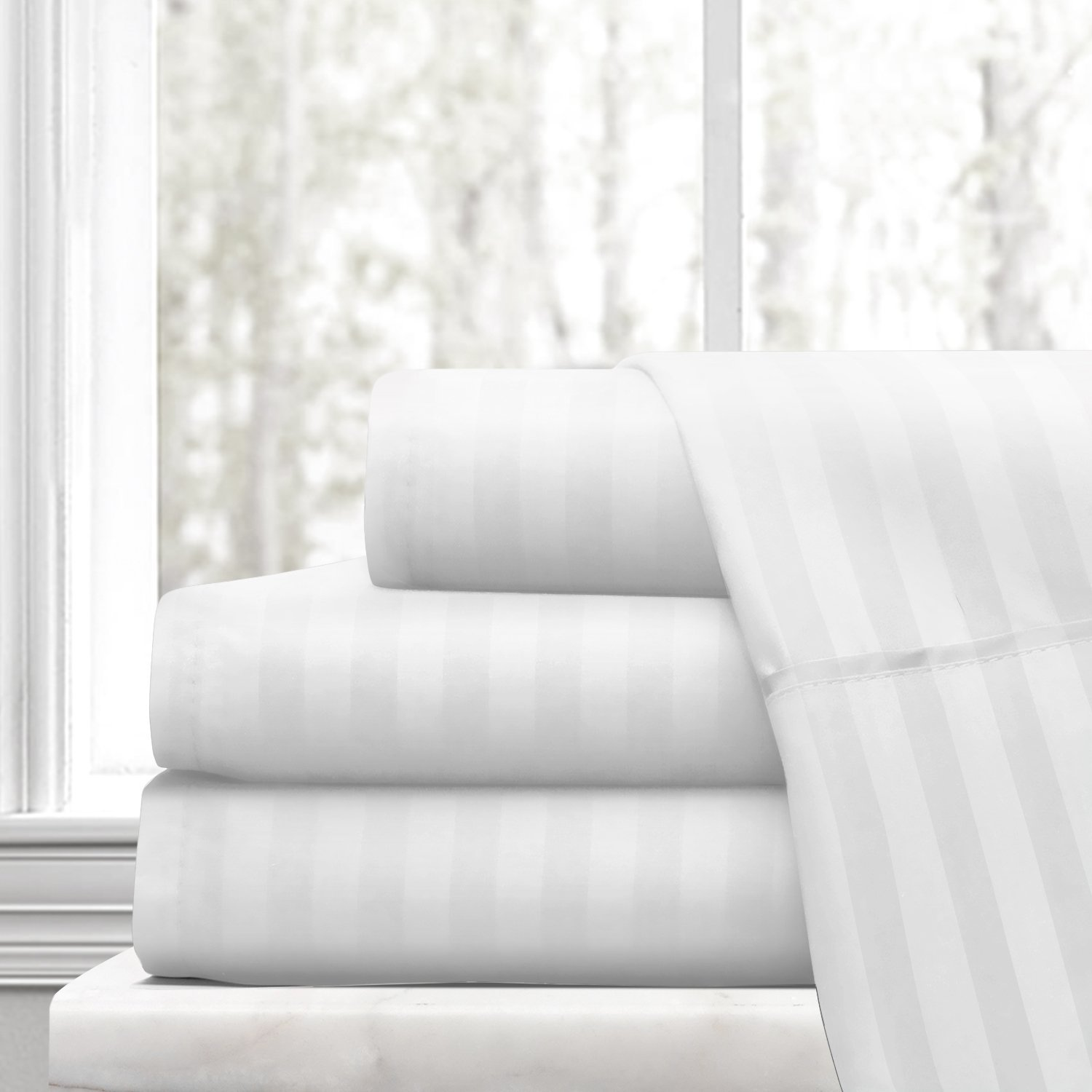 Beckham Hotel Collection Luxury Soft Brushed Microfiber 4-Piece Striped Sheet Set - Hypoallergenic & Stain Resistant with Embossed Stripes - Full - White
