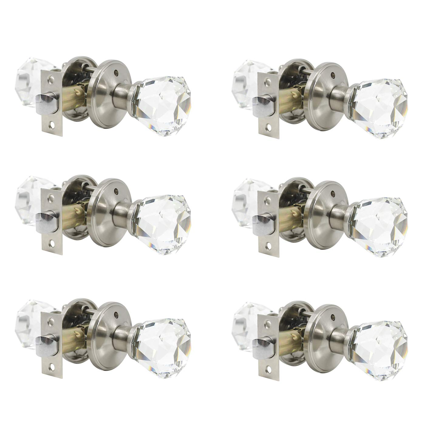 6 Pack Clear Crystal Door Knobs, Heavy Duty Glass Privacy Door Handles for Interior Doors, Bedroom Bathroom Door Knob with Modern Design, Satin Nickel Finish