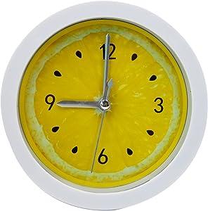 LABANCA Creative Small Round Alarm Clock Home Decor Lemon Quartz Clock Yellow