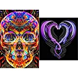 BBTO 2 Pieces 5D Full Diamond DIY Painting Set Rhinestone Painting with Skull and Dragon Heart Craft Pattern Supply for Art Craft Home Decoration
