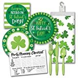 Irish Blarney Green Shamrock St Patricks Day Themed Party Supply Pack Bundle - Serves 8 Guests