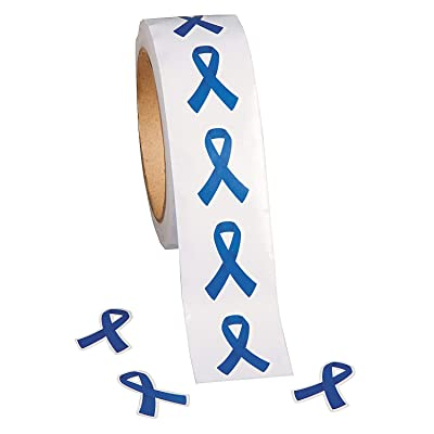 Fun Express - Awareness Ribbon Roll Stickrs Blue 500pc - Stationery - Stickers - Stickers - Roll - 1 Piece: Toys & Games