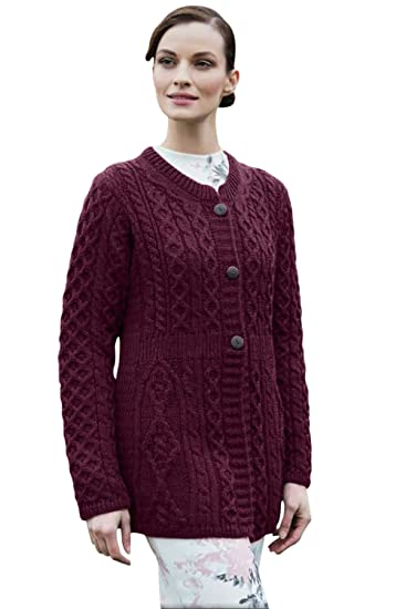 0db1bc372678a Ladies A Line Aran Merino Wool Sweater Cardigan (Small) at Amazon Women s  Clothing store