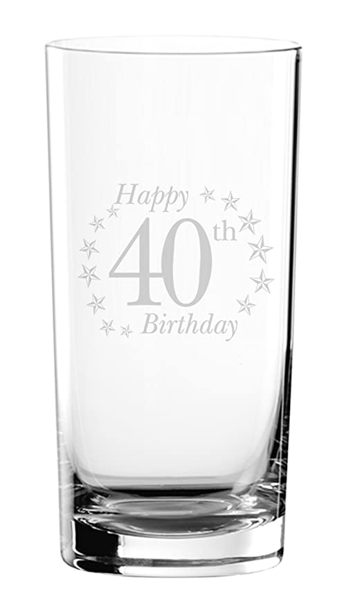 Happy 40th 40 cumpleaños grabado Hi de vasos altos cristal ...