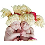 Melondipity Girls Handmade Doll Baby Hat - Cute Yellow Crochet Beanie with Bows