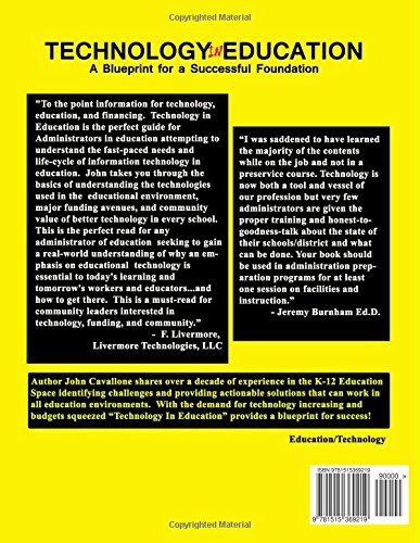 Technology in education a blueprint for a successful foundation technology in education a blueprint for a successful foundation john a cavallone 9781515369219 amazon books malvernweather Choice Image