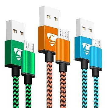 Yosou Cable Micro USB [3-Pack, 1M] Cable Cargador Movil de Nylon Cable USB Micro USB Compatible con Dispositivos Android, Samsung Galaxy S7/S6/S5, ...