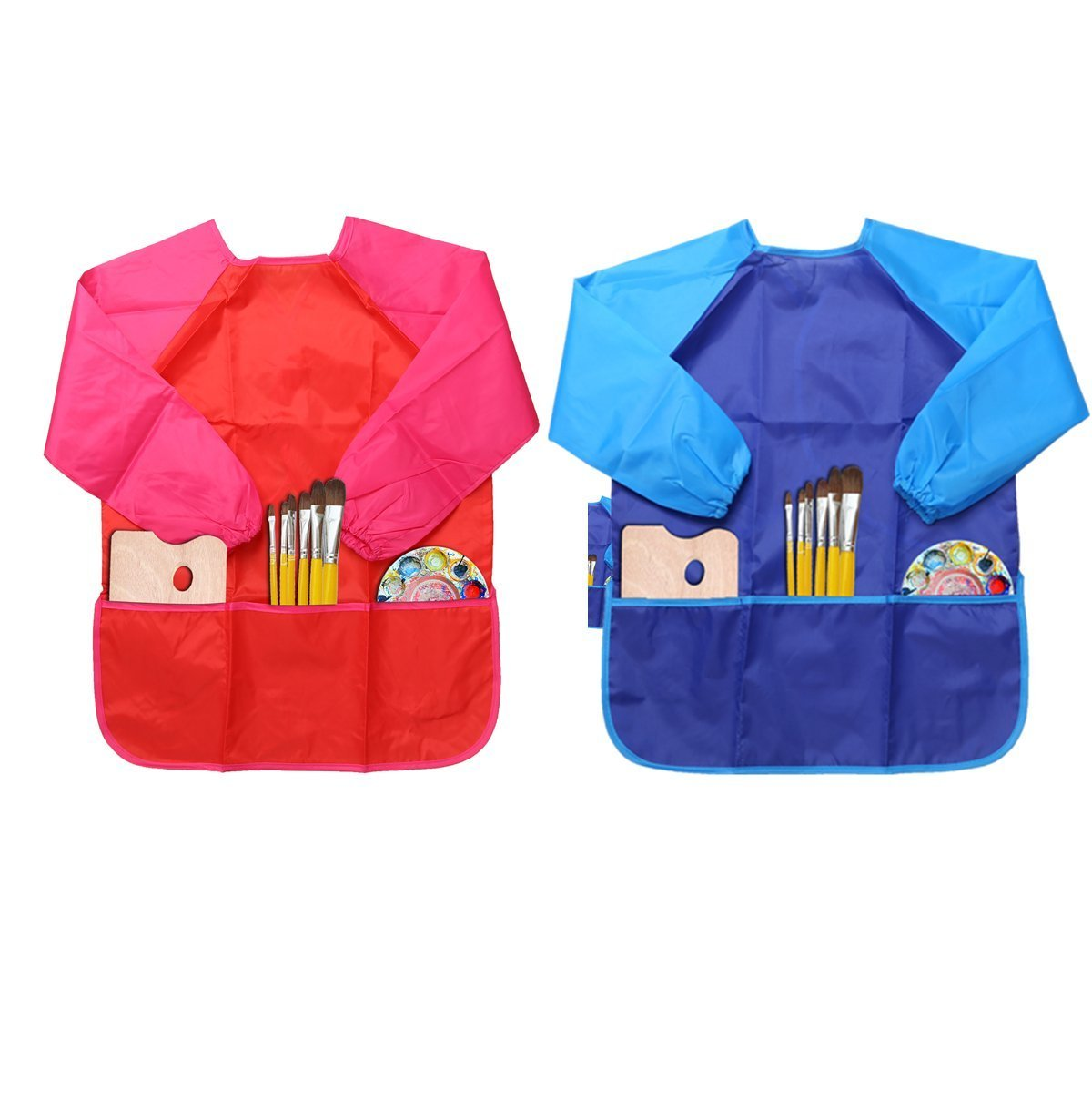 LEADSTAR Baby Waterproof Feeding Bibs with Long Sleeves, Unisex Kids Bib Apron Smock for Infant Toddler 6 Months to 3 Years Old (3 Pack)