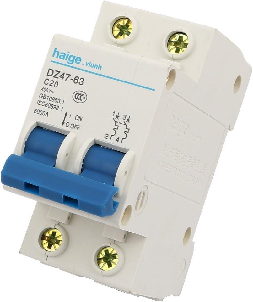 sourcingmap DZ47-63 C20 2 Poles Overload Protection Miniature Circuit Breaker AC 400V 6000A
