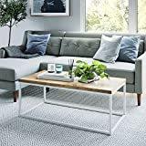 Nathan James 31103 Doxa Solid Wood Modern Industrial Coffee Table, White/Oak