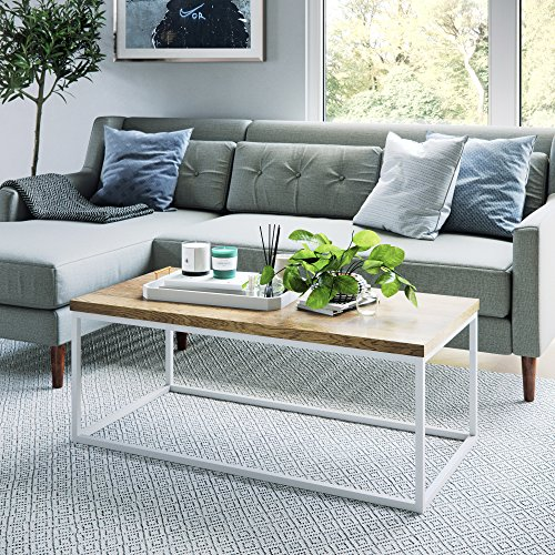 - Nathan James 31103 Doxa Modern Industrial Coffee Table Wood and Metal Box Frame, Light Brown/White