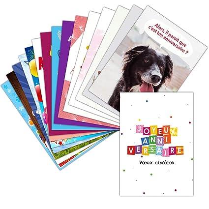 Tarjeta Bon y cumpleaños feliz - Lote de 16 tarjetas ...