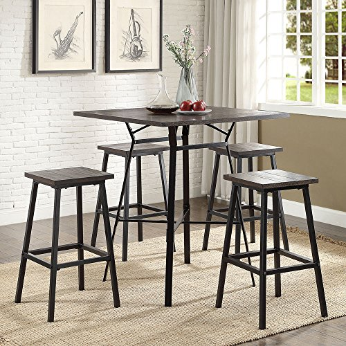 1PerfectChoice Dora Industrial Bar Dining Set Square Wood Table Barstool Stool Dark Oak Metal