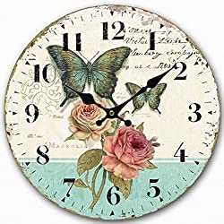 Telisha Wooden Wall Clock Green Butterfly Rose Flower Clock Retro Vintage Large Clock Home Decorative Country Non -Ticking Silent Quiet 14 Inch Gift