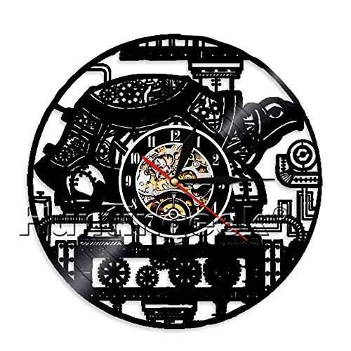 The Geeky Days Steampunk Turtle Wall Clock Steampunk Sea Turtle Vintage Ornament Gear Vinyl Record Clock Animal Lovers Decorative Clock