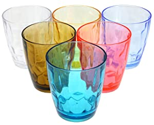 Lawei 6 pack 14 oz Unbreakable Plastic Drinking Glasses - Assorted Colored Acrylic Drinking Glasses Water Cups Juice Tumblers
