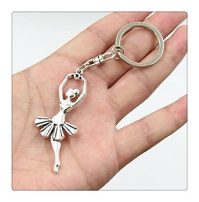 Llavero de coche de moda, color plateado, metal, accesorios para llaves, llaveros de bailarina de ballet vintage: Amazon.es: Joyería