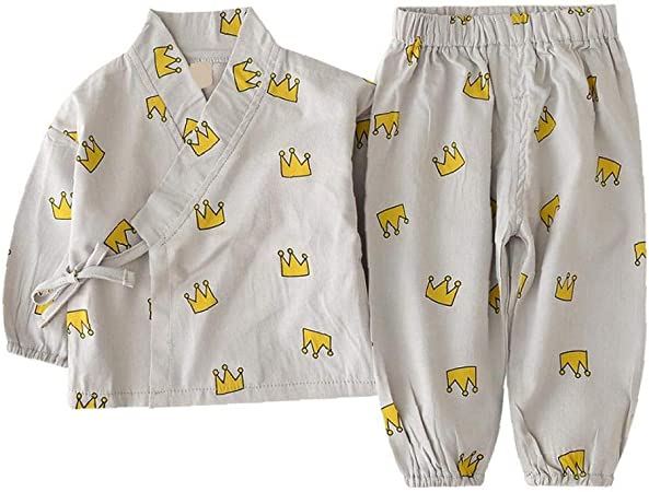 Neonato Sleepwear Set Giapponese Pigiama di Cotone Set Kimono con i Pantaloni Corona Insieme Stampato per Infant Toddlers Bambino 110 Centimetri Grey 1Set