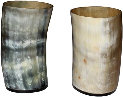 Set de 2/vasos de chupito de whisky taza de cuerno aut/éntico Ale cerveza vino copa de artesan/ía hogar