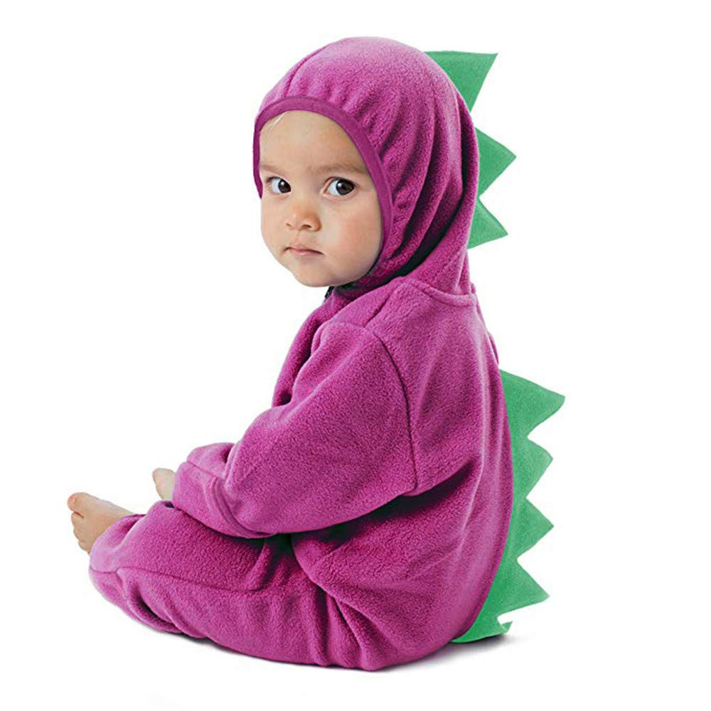 Clearance!!Toddler Infant Baby Girls Boys Cartoon Animals Romper Warm Hoodie Zipper Jumpsuit Party Costume Cosplay (Purple-Dinosaur, 0-3 Months)