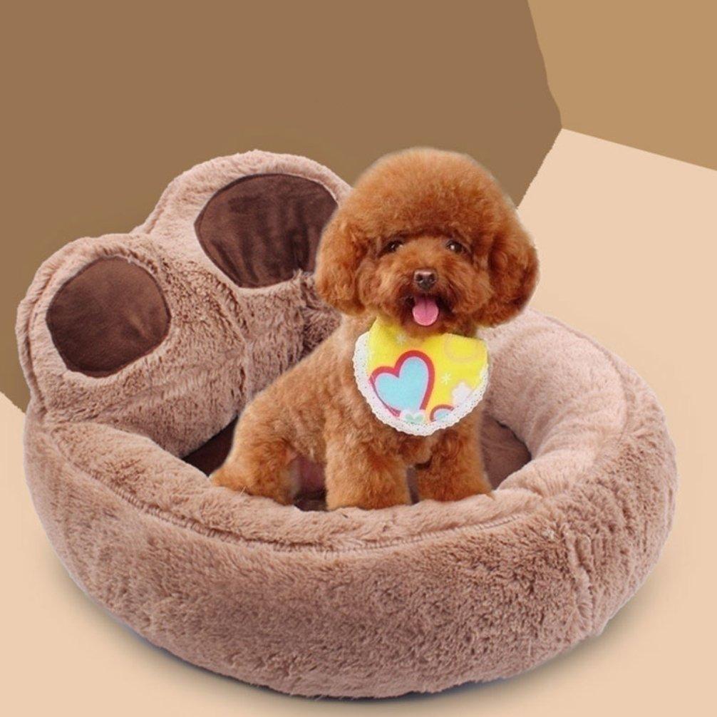 LA VIE Cama Sofá Redondo para Mascotas Forma de Garra Cesta Linda de Perros con Cojín Extraíble Casa Cama Nido Cómoda para Gatos y Perros S en Marrón: ...