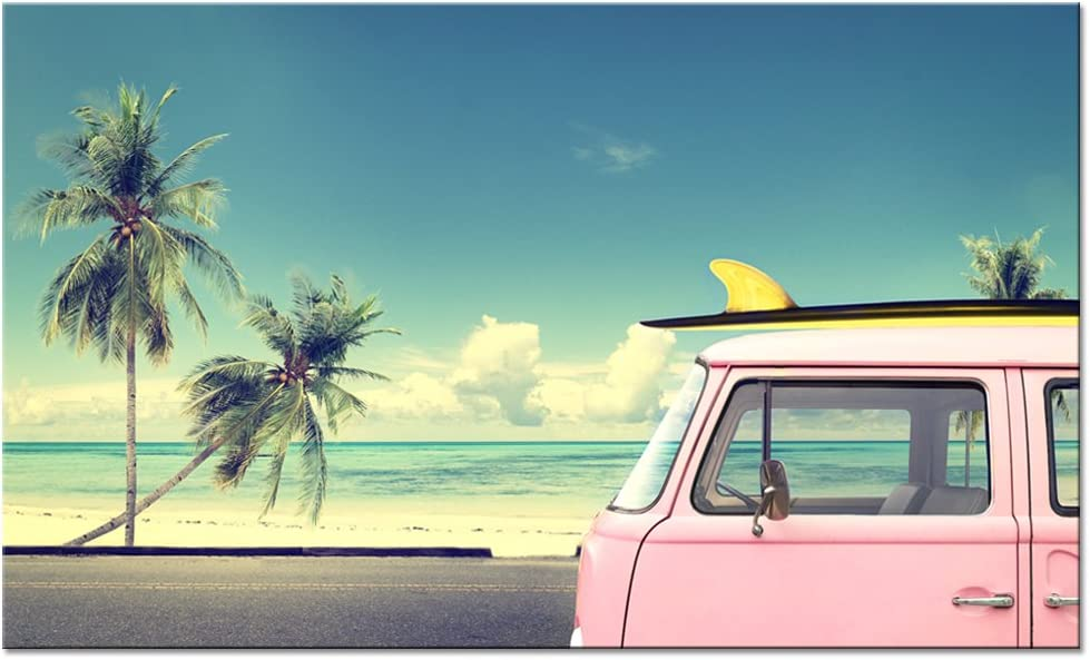sechars - Tropical Beach Wall Art Pink Van Car with Surfboard Picture Photo Print on Canvas Palm Tree Landscape Painting Framed for Home Decor Ready to Hang,-24x40incehs