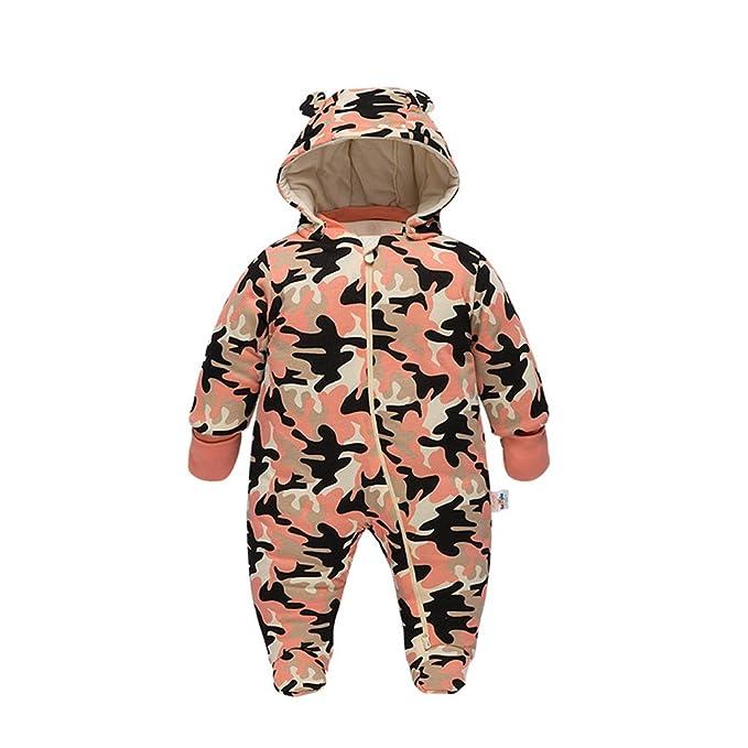 Vine Bebé Traje de Nieve Niño Mameluco de bebé con Capucha Ropa de Invierno Cremallera Camuflaje