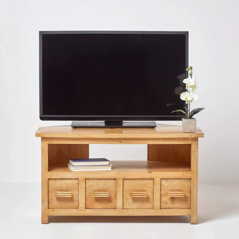 Homescapes – Mueble de esquina para televisor de madera de roble pantalla 100% madera de mango maciza Mangat sala de estar muebles de dormitorio, 100 x 60 x 55 cm: Amazon.es: Hogar