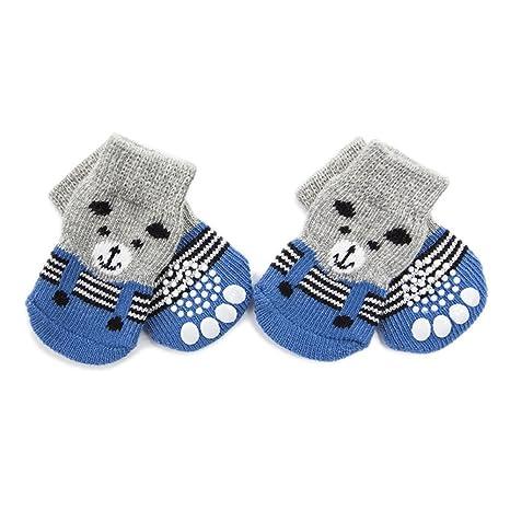UEETEK Calcetines para mascotas Calcetines Antideslizantes de perro protectores de las patas para gatos 4pcs -