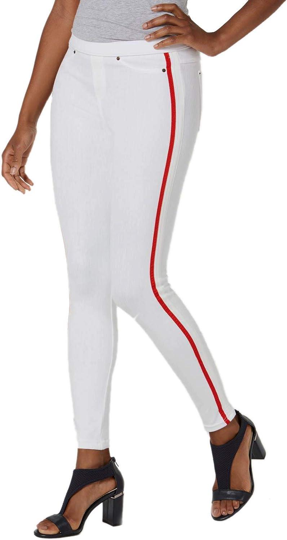 Hue Women/'s Ripped Knee Original Denim Skimmer Leggings White S 4-6
