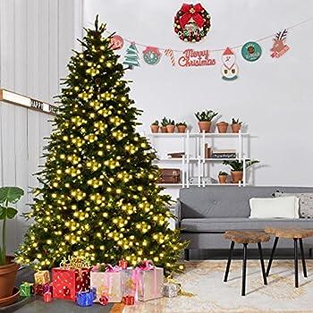 goplus 75ft pre lit artificial christmas tree premium spruce hinged tree w 540 - Amazon Christmas Tree