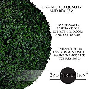 3rd Street Inn Topiary Ball - Artificial Topiary Plant - Wedding Decor - Indoor/Outdoor Artificial Plant Ball - Topiary Tree Substitute 4