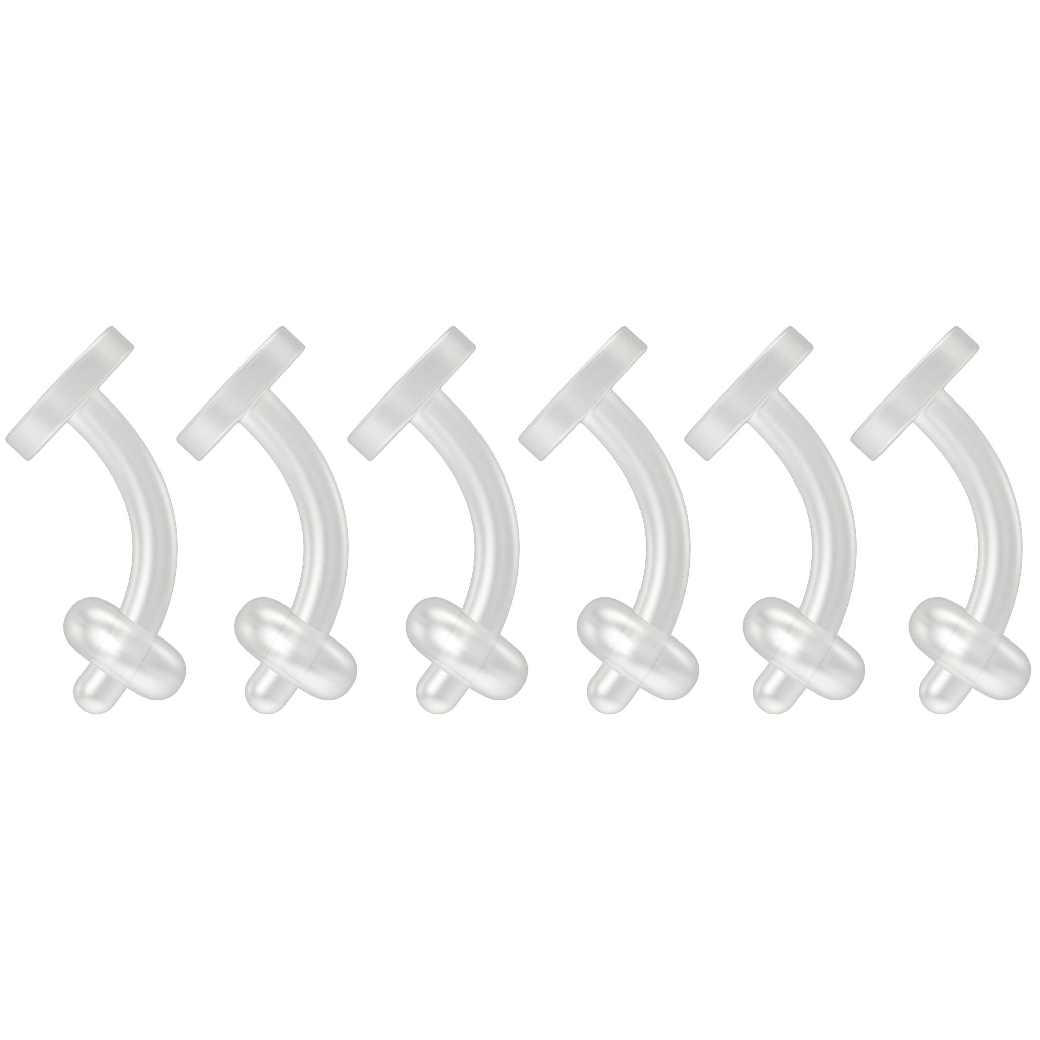6pc 16g Cartilage Piercing Retainer Flexible Clear BioFlex Curved Barbell Bioplast Piercing 6mm 1/4 by Bling Piercing